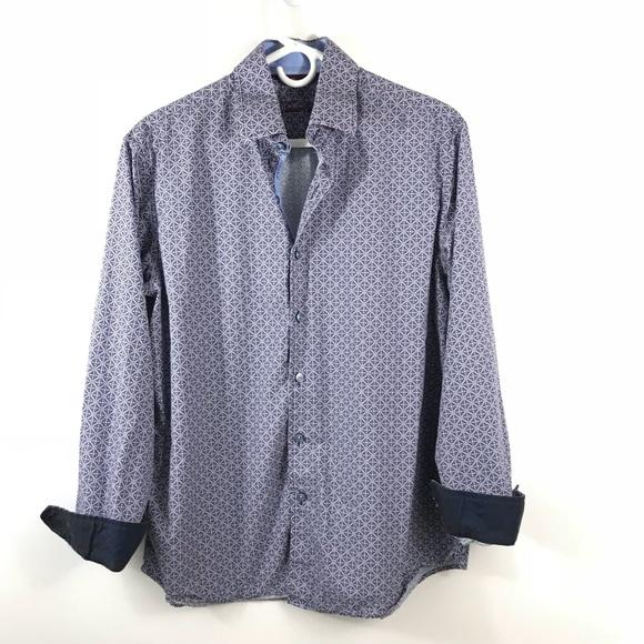 46e06c93f57cc Tasso Elba Shirts   Geo Blue Maroon Ls Shirt Flip Cuff   Poshmark